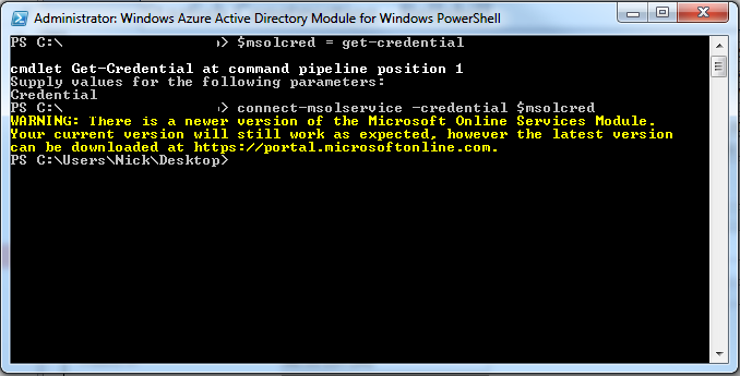 Connect to O365 using Powershell (Windows Azure Active Directory Module )