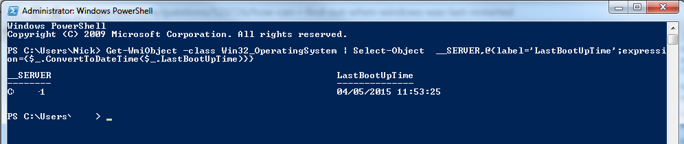 last boot time using powershell