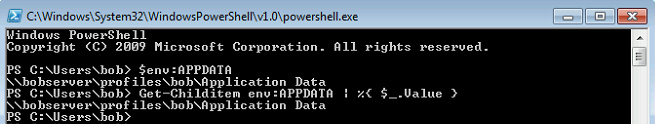 path of %AppData% using PowerShell + $env:  call