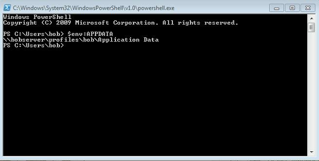 Getting the path of %AppData% using PowerShell + $env: usage