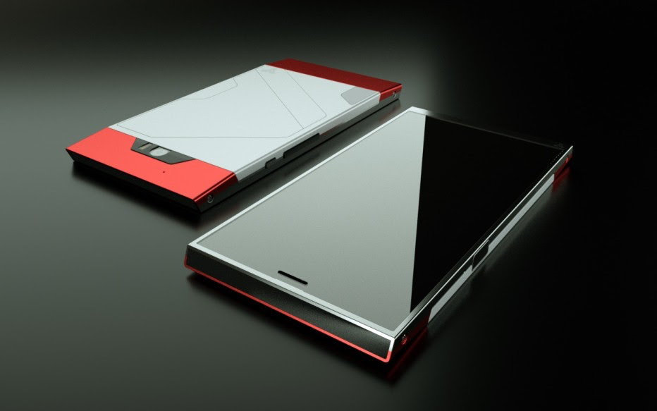 Front and back of the Turing Phone model: Cardinal