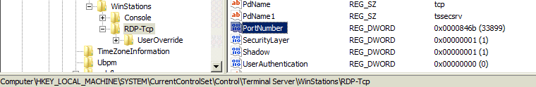Change RDP port number