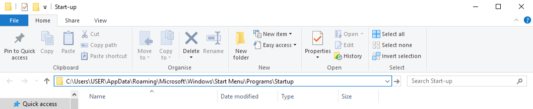 startup folder in windows 10